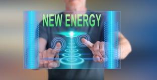 Bemannen Sie das Berühren eines neuen Energiekonzeptes auf einem Touch Screen Lizenzfreie Stockbilder