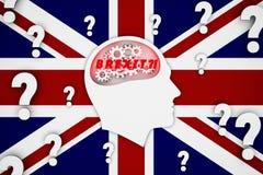 Bemannen Sie das Denken an brexit Konsequenzen, Flaggenhintergrund Großbritanniens, England lizenzfreie stockfotografie