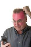 Bemannen Sie das Drehen rot mit Raserei Stockfoto