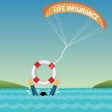 Bemannen Sie das Ertrinken unterstützt durch Gefäß, Fallschirm, insuran Lizenzfreie Stockbilder