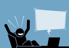 Bemannen Sie das Fühlen aufgeregt und glücklich, nachdem Sie den Inhalt und die Mitteilung vom Computer und vom Internet gesehen  vektor abbildung
