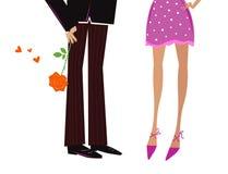 Bemannen Sie das Geben Frau des romantischen Geschenks - Rot stieg Lizenzfreies Stockfoto