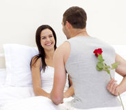 Bemannen Sie das Geben seiner schönen Frau einer Rose Stockfoto