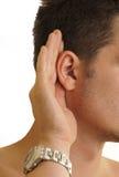 Bemannen Sie das Hören Stockfoto