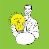 Bemannen Sie das Halten der Lampe - Retro- komische Art der Idee Stockfoto