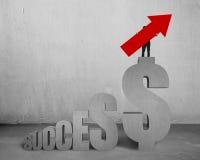 Bemannen Sie das Halten des Pfeiles oben auf Dollarzeichen-Erfolgstexttreppe Stockfotos
