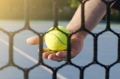 Bemannen Sie das Halten des Tennisballs hinter dem Netz, Nahaufnahme Lizenzfreie Stockfotografie