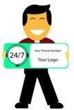 Bemannen Sie das Halten des Zeichens des Mannes 24 Stunde Call-Center lizenzfreie abbildung