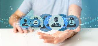 Bemannen Sie das Halten einer Berufswiedergabe des kontaktnetzkonzeptes 3d Stockbilder