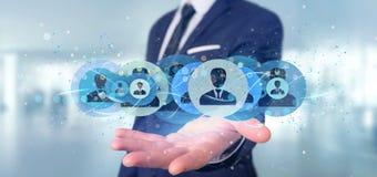 Bemannen Sie das Halten einer Berufswiedergabe des kontaktnetzkonzeptes 3d Lizenzfreie Stockbilder