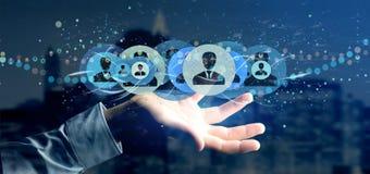Bemannen Sie das Halten einer Berufswiedergabe des kontaktnetzkonzeptes 3d Lizenzfreie Stockfotografie