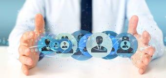 Bemannen Sie das Halten einer Berufswiedergabe des kontaktnetzkonzeptes 3d Stockbild