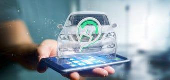 Bemannen Sie das Halten einer elektrischen smartcar Wiedergabe des Konzeptes 3d Stockbild