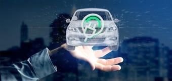 Bemannen Sie das Halten einer elektrischen smartcar Wiedergabe des Konzeptes 3d Stockfotos