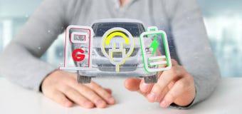 Bemannen Sie das Halten einer elektrischen smartcar Wiedergabe des Konzeptes 3d Lizenzfreies Stockfoto