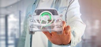 Bemannen Sie das Halten einer elektrischen smartcar Wiedergabe des Konzeptes 3d Lizenzfreie Stockfotos
