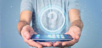 Bemannen Sie das Halten einer TechnologieFragezeichenikone auf einem Kreis 3d rende Lizenzfreie Stockfotografie