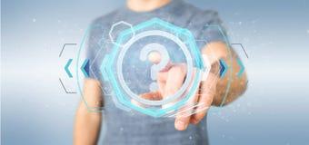 Bemannen Sie das Halten einer TechnologieFragezeichenikone auf einem Kreis 3d rende Lizenzfreies Stockfoto