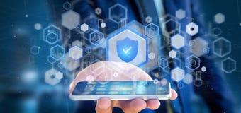 Bemannen Sie das Halten einer Wiedergabe des Schildnetzsicherheitskonzeptes 3d Lizenzfreies Stockfoto