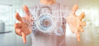 Bemannen Sie das Halten einer Wiedergabe des Schildnetzsicherheitskonzeptes 3d Lizenzfreie Stockfotografie