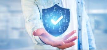 Bemannen Sie das Halten einer Wiedergabe des Schildnetzsicherheitskonzeptes 3d Lizenzfreie Stockfotos