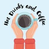 Bemannen Sie das Halten im Handtasse kaffee auf hölzernem Hintergrund Stockfoto