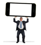 Bemannen Sie das Halten leeren Bildschirms des riesige Zelldes intelligenten Telefons w Stockfoto