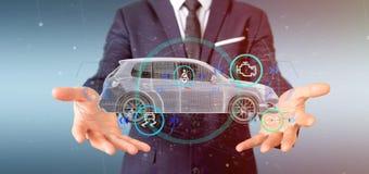 Bemannen Sie das Halten von einem Smartcar mit checkings 3d Wiedergabe Stockfoto