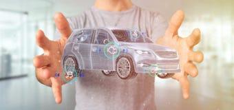 Bemannen Sie das Halten von einem Smartcar mit checkings 3d Wiedergabe Stockfotos