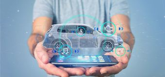 Bemannen Sie das Halten von einem Smartcar mit checkings 3d Wiedergabe Stockfotografie