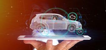 Bemannen Sie das Halten von einem Smartcar mit checkings 3d Wiedergabe Lizenzfreie Stockfotografie