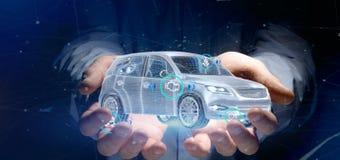 Bemannen Sie das Halten von einem Smartcar mit checkings 3d Wiedergabe Lizenzfreies Stockbild