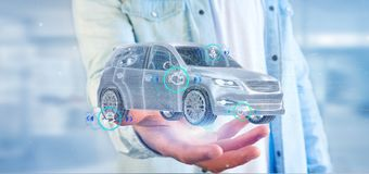 Bemannen Sie das Halten von einem Smartcar mit checkings 3d Wiedergabe Stockbild