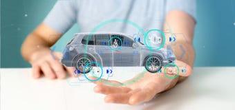Bemannen Sie das Halten von einem Smartcar mit checkings 3d Wiedergabe Stockbilder