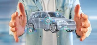 Bemannen Sie das Halten von einem Smartcar mit checkings 3d Wiedergabe Lizenzfreie Stockfotos