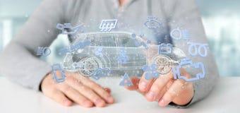 Bemannen Sie das Halten von Smartcar-Ikone um eine Wiedergabe des Automobils 3d Lizenzfreie Stockfotos
