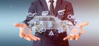 Bemannen Sie das Halten von Smartcar-Ikone um eine Wiedergabe des Automobils 3d Stockfotografie