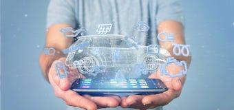 Bemannen Sie das Halten von Smartcar-Ikone um eine Wiedergabe des Automobils 3d Lizenzfreies Stockfoto
