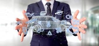 Bemannen Sie das Halten von Smartcar-Ikone um eine Wiedergabe des Automobils 3d Stockfoto