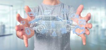 Bemannen Sie das Halten von Smartcar-Ikone um eine Wiedergabe des Automobils 3d Lizenzfreies Stockbild