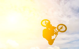 Bemannen Sie das Handeln eines Sprunges mit einem bmx Fahrrad Lizenzfreie Stockbilder