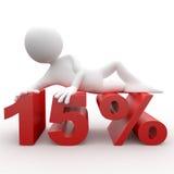 Bemannen Sie das Lügen auf den 15 Prozent Stockbilder