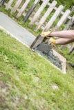 Bemannen Sie das Legen einer Betonplatte im Garten Stockbild