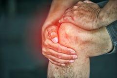 Bemannen Sie das Leiden unter den Knieschmerz, Beinschmerz Lizenzfreie Stockfotos