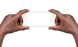 Bemannen Sie das Machen eines Fotos unter Verwendung eines intelligenten Telefons lizenzfreies stockbild