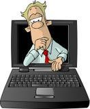 Bemannen Sie das Schauen vom Innere eines Laptops stock abbildung