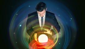 Bemannen Sie das Schauen zur Zukunft des Wortes in einem magischen Ball vektor abbildung