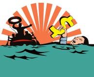 Bemannen Sie das Sinken in Schuld Lizenzfreie Stockbilder