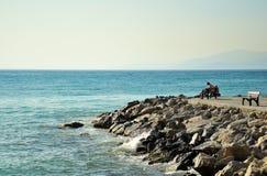 Bemannen Sie das Sitzen auf Bank durch Meer, seitliche Ansicht Stockfoto