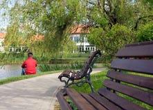 Bemannen Sie das Sitzen auf dem Gras durch den See Stockfotografie